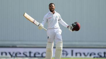 Shai Hope celebrates his maiden Test hundred