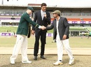 Steven Smith and Mushfiqur Rahim shake hands at the toss as Brendon Julian watches on, Bangladesh v Australia, 1st Test, Mirpur, 1st day, August 27, 2017