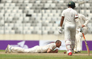 Josh Hazlewood tries to get his bearings after attempting a catch off his own bowling, Bangladesh v Australia, 1st Test, Mirpur, 1st day, August 27, 2017