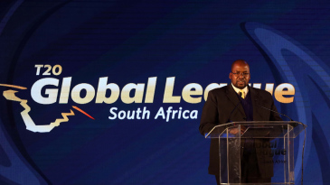 Cricket South Africa President Chris Nenzani speaks at the inaugural player draft of the T20 Global League