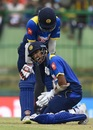 Dinesh Chandimal sustained a painful blow to his right thumb, Sri Lanka v India, 3rd ODI, Pallekele, August 27, 2017