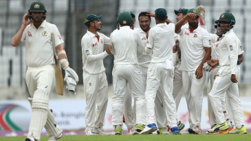 Shakib Al Hasan removed Nathan Lyon, the nightwatchman, for a duck