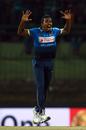 Vishwa Fernando is delighted after dismissing Virat Kohli, Sri Lanka v India, 3rd ODI, Pallekele, August 27, 2017