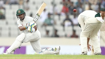 Sabbir Rahman sweeps over short leg