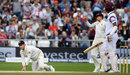 Kraigg Brathwaite edged just short of Tom Westley, England v West Indies, 2nd Investec Test, Headingley, 5th day, August 29, 2017