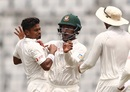 Taijul Islam is pumped after taking a return catch, Bangladesh v Australia, 1st Test, Mirpur, 4th day, August 30, 2017