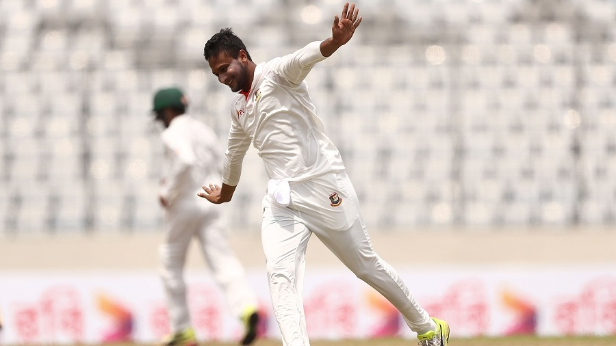 Shakib Al Hasan wheels away in celebration