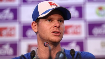 Steven Smith speaks to the media after Australia's 20-run defeat