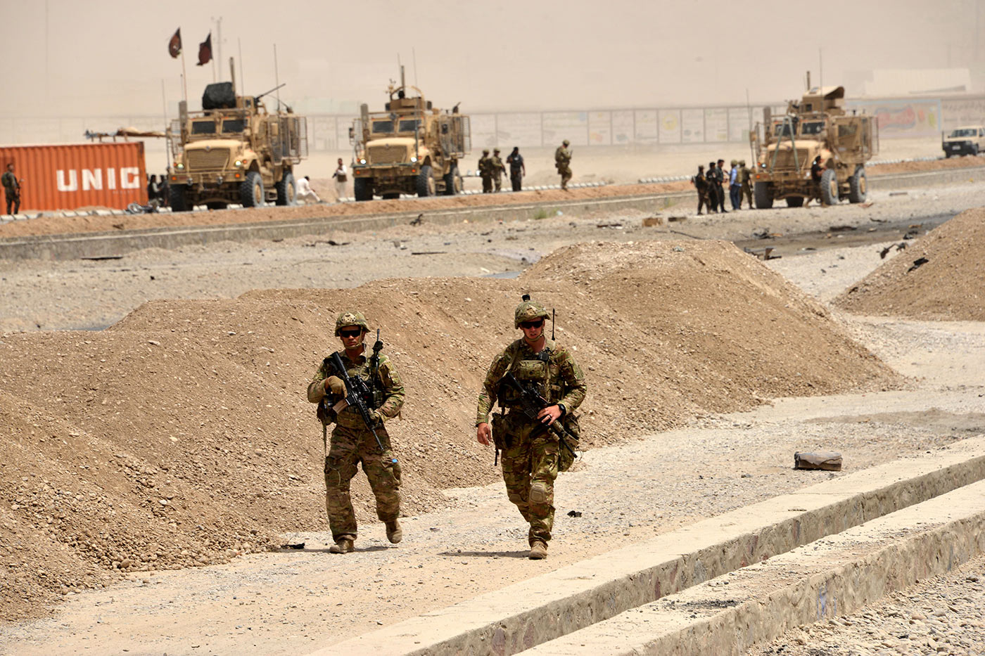 US soldiers at the site of a Taliban suicide attack in Kandahar earlier in 2017