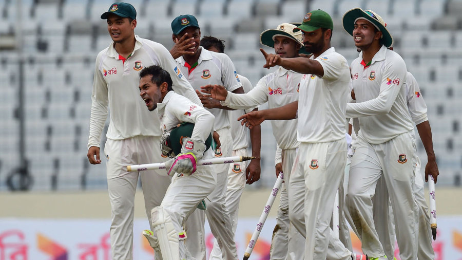Bangladesh celebrate their maiden Test win over Australia