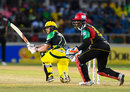 Glenn Phillips gets down for a sweep, Jamaica Tallawahs v St Kitts and Nevis Patriots, CPL 2017, Kingston, August 30, 2017