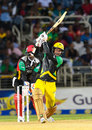 Kumar Sangakkara lifts one towards wide long-on, Jamaica Tallawahs v St Kitts and Nevis Patriots, CPL 2017, Kingston, August 30, 2017