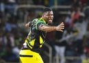 Oshane Thomas celebrates Carlos Brathwaite's dismissal, Jamaica Tallawahs v St Kitts and Nevis Patriots, CPL 2017, Kingston, August 30, 2017
