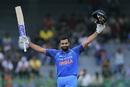 Rohit Sharma celebrates after reaching triple figures, Sri Lanka v India, 4th ODI, Colombo, August 31, 2017