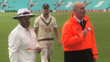 An arrow fired onto the outfield at The Oval caused a major security alert