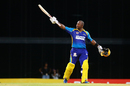 Dwayne Smith celebrates his second century of the tournament, Barbados Tridents v St Lucia Stars, CPL 2017, Bridgetown, August 31, 2017