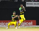 Rovman Powell and Mahmudullah converge for a catch, Jamaica Tallawahs v Guyana Amazon Warriors, CPL 2017, Kingston, September 1, 2017