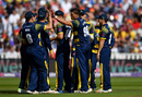 Marchant de Lange celebrates with his team mates, Birmingham v Glamorgan, NatWest T20 Blast, 1st semi-final, Birmingham, September 2, 2017