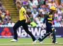 Olly Stone shrieks in delight after picking a wicket, Birmingham v Glamorgan, NatWest T20 Blast, 1st semi-final, Birmingham, September 2, 2017