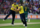 Chris Woakes celebrates the dismissal of Notts dangerman Riki Wessels, Birmingham v Nottinghamshire, NatWest Blast final, Edgbaston, September 2, 2017