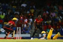 Eoin Morgan was one of three batsmen run out in Tridents' innings, Barbados Tridents v Trinbago Knight Riders, CPL 2017, Bridgetown, September 2, 2017
