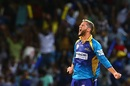 Wayne Parnell exults after picking up a wicket, Barbados Tridents v Trinbago Knight Riders, CPL 2017, Bridgetown, September 2, 2017