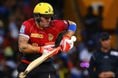 Brendon McCullum retired hurt after copping a painful blow on his arm, Barbados Tridents v Trinbago Knight Riders, CPL 2017, Bridgetown, September 2, 2017