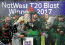 Dan Christian was covered in champagne after getting the trophy in the eye, Birmingham v Nottinghamshire, NatWest Blast final, Edgbaston, September 2, 2017