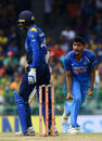 Jasprit Bumrah exults after dismissing Upul Tharanga with a beauty, Sri Lanka v India, 5th ODI, Colombo, September 3, 2017