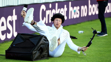 Andrew Flintoff takes a tumble