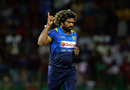 Lasith Malinga celebrates the wicket of Ajinkya Rahane, Sri Lanka v India, 5th ODI, Colombo, September 3, 2017