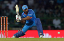 Kedar Jadhav lunges forward to play the slog sweep, Sri Lanka v India, 5th ODI, Colombo, September 3, 2017