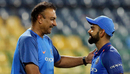 India head coach Ravi Shastri congratulates Virat Kohli on the six-wicket victory, Sri Lanka v India, 5th ODI, Colombo, September 3, 2017