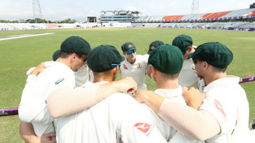 Steven Smith rallies his troops for a pre-match huddle