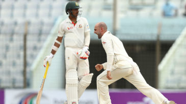 Nathan Lyon roars after trapping Tamim Iqbal lbw
