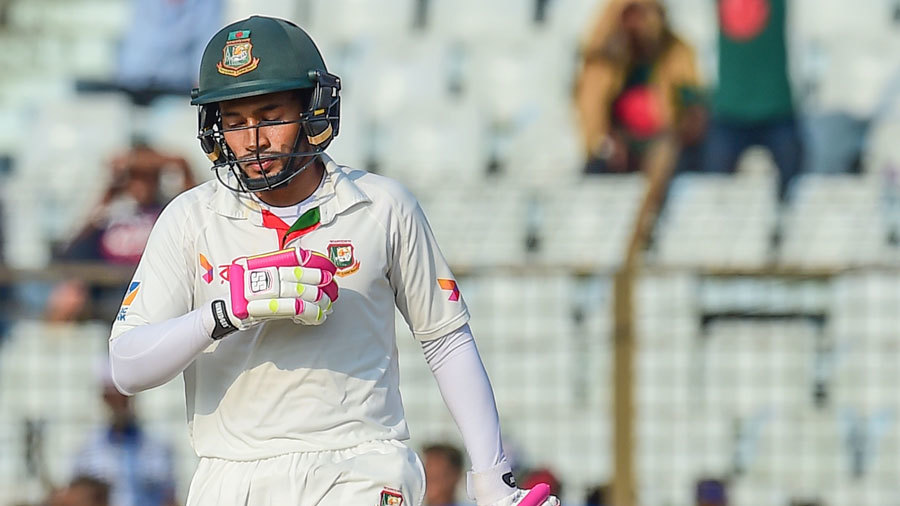 Mushfiqur Rahim takes a moment to reflect after reaching his half-century
