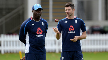 Ottis Gibson, ahead of his final Test as bowling coach, alongside James Anderson