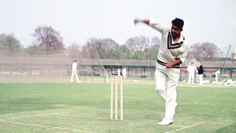 Ball on a string: Prasanna in the nets in England in 1967