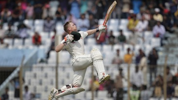 David Warner celebrated back-to-back Test hundreds with a trademark leap