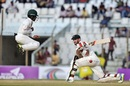 Mominul Haque leaps to evade a sweep from Glenn Maxwell, Bangladesh v Australia, 2nd Test, Chittagong, 3rd day, September 6, 2017