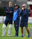 Joe Root, Trevor Bayliss and Paul Farbrace watch on during England nets, Lord's, September 6, 2017
