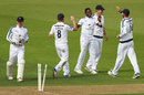 Fidel Edwards celebrates hitting the stumps, Hampshire v Surrey, Specsavers Championship, Division One, Ageas Bowl, 2nd day, September 6, 2017