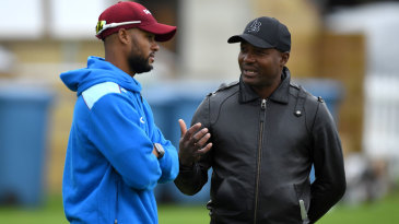 Shai Hope chats with Brian Lara during West Indies training