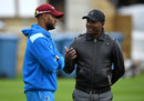 Shai Hope chats with Brian Lara during West Indies training, Lord's, September 6, 2017