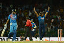 Lasith Malinga celebrates the wicket of his IPL team-mate Rohit Sharma, Sri Lanka v India, one-off T20I, Colombo, September 6, 2017
