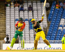 Lendl Simmons plays off one hand as wicketkeeper Luke Ronchi looks on, Guyana Amazon Warriors v Jamaica Tallawahs, Eliminator, Caribbean Premier League, Tarouba, September 6, 2017