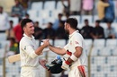 Peter Handscomb and Glenn Maxwell celebrate victory, Bangladesh v Australia, 2nd Test, Chittagong, 4th day, September 7, 2017