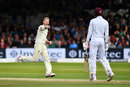 Ben Stokes celebrates a brilliant delivery to bowl Roston Chase , England v West Indies, 3rd Investec Test, Lord's, 1st day, September 7, 2017