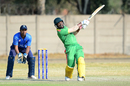 Patrick Matautaava drives down the ground during his 83 off 60 balls, Italy v Vanuatu, ICC WCL Division Five semi-final, Benoni, September 7, 2017