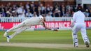 Stuart Broad couldn't quite cling on to a tough return chance, England v West Indies, 3rd Investec Test, Lord's, 3rd day, September 9, 2017